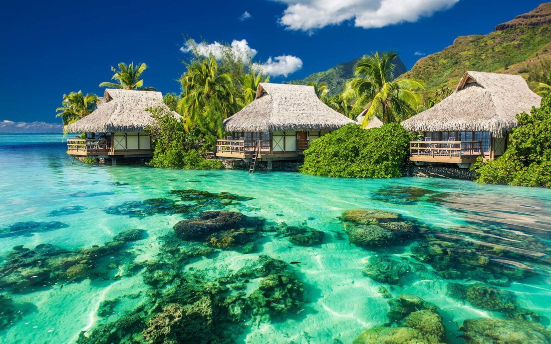 Beautiful above and underwater landscape of a tropical resort